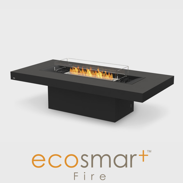 Outdoor Firepit NZ - Black Rectangle Fire Pit With Black Pebbles & Screen