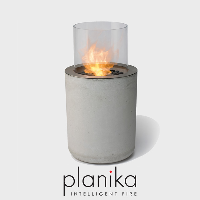 NZ Bioethanol Naked Flame - Concrete Column Fireplace with Glass Panel