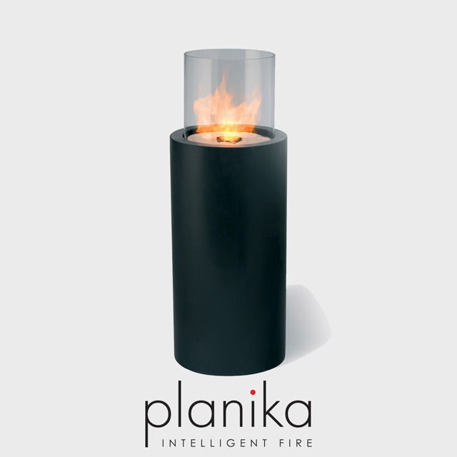NZ Bioethanol Naked Flame - Black Tall Column Fireplace with Glass Panel