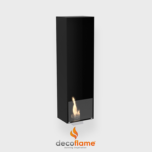 NZ Bioethanol Naked Flame - Black Narrow Built-in Enclosed Fireplace Firebox