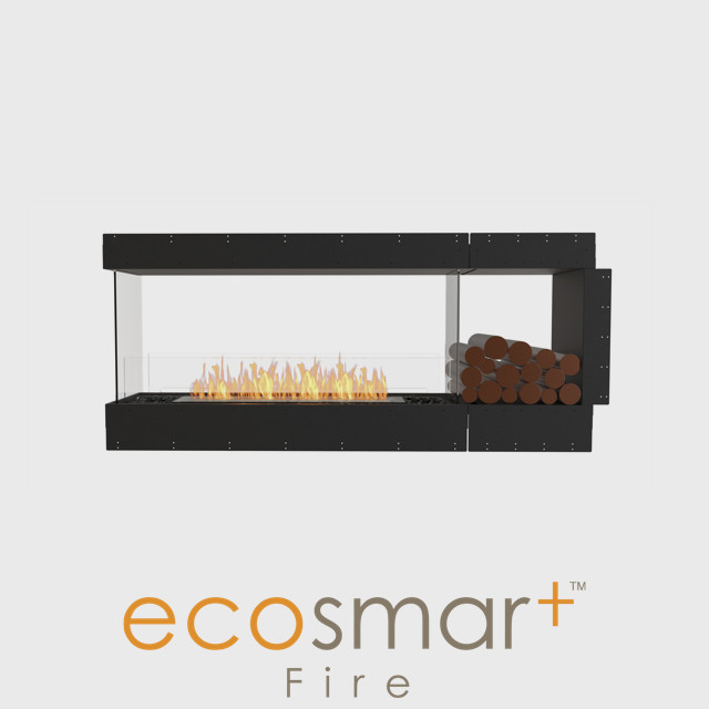 NZ Bioethanol Naked Flame - Black Built-in Peninsula Wide Fireplace Firebox With Decorative Logs