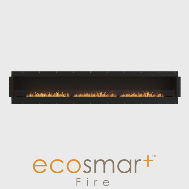 NZ Bioethanol Naked Flame - Black Built-in Single Sided Wide Fireplace Firebox
