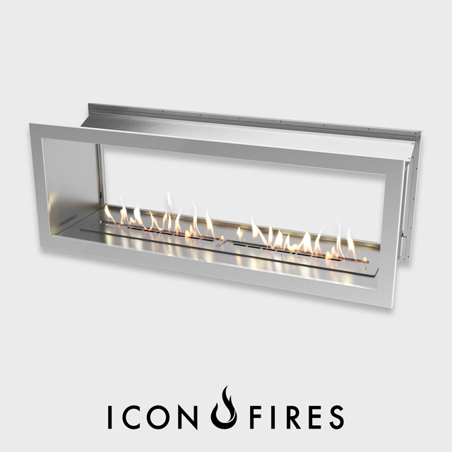 Biofuel Fireplaces NZ - Fireboxes Icon Fires Double Sided Slimline 1650