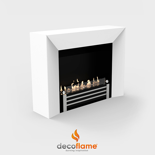 NZ Bioethanol Naked Flame - White Thick Framed Fireplace Firebox Insert