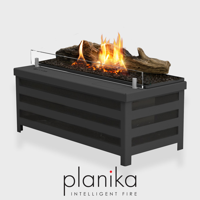 NZ Bioethanol Naked Flame - Black Automatic Fireplace Burner Insert with Logs and Glass Panel