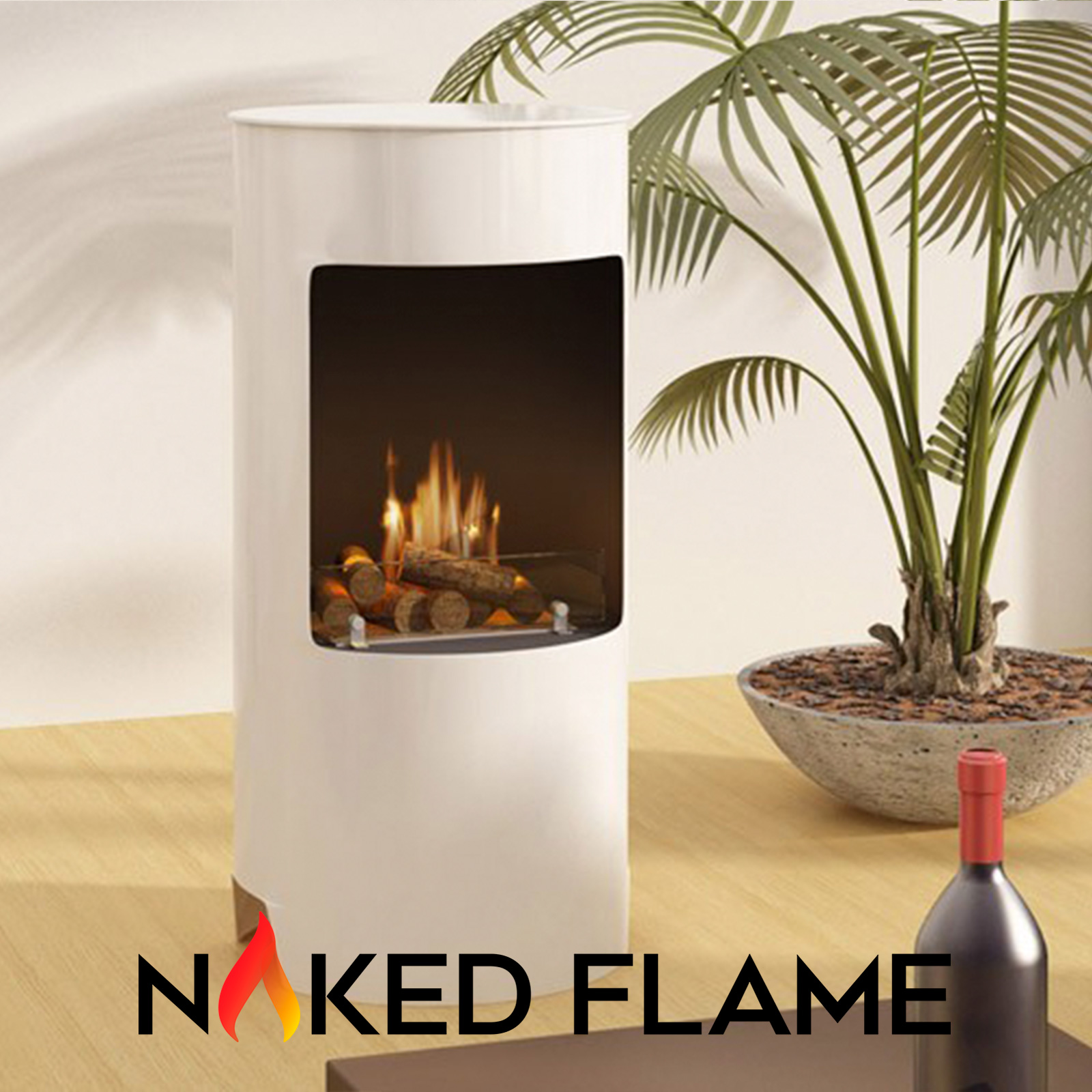 White Free Standing Enclosed Cylinder Fireplace - Logs & Flame
