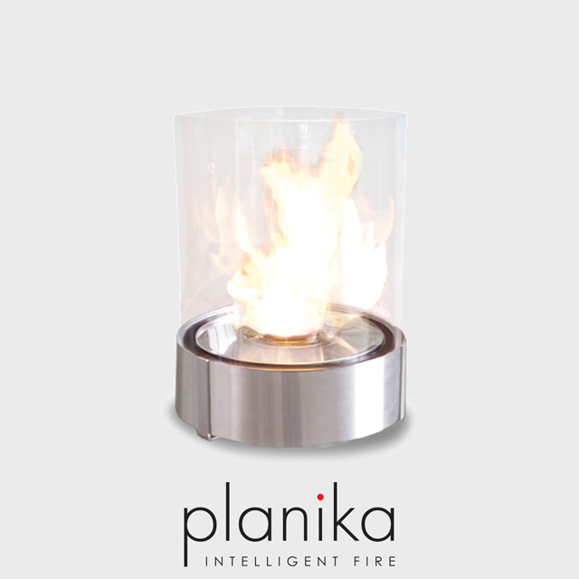 NZ Bioethanol Naked Flame - Stainless Steel Outdoor Glass Round Tabletop Fire